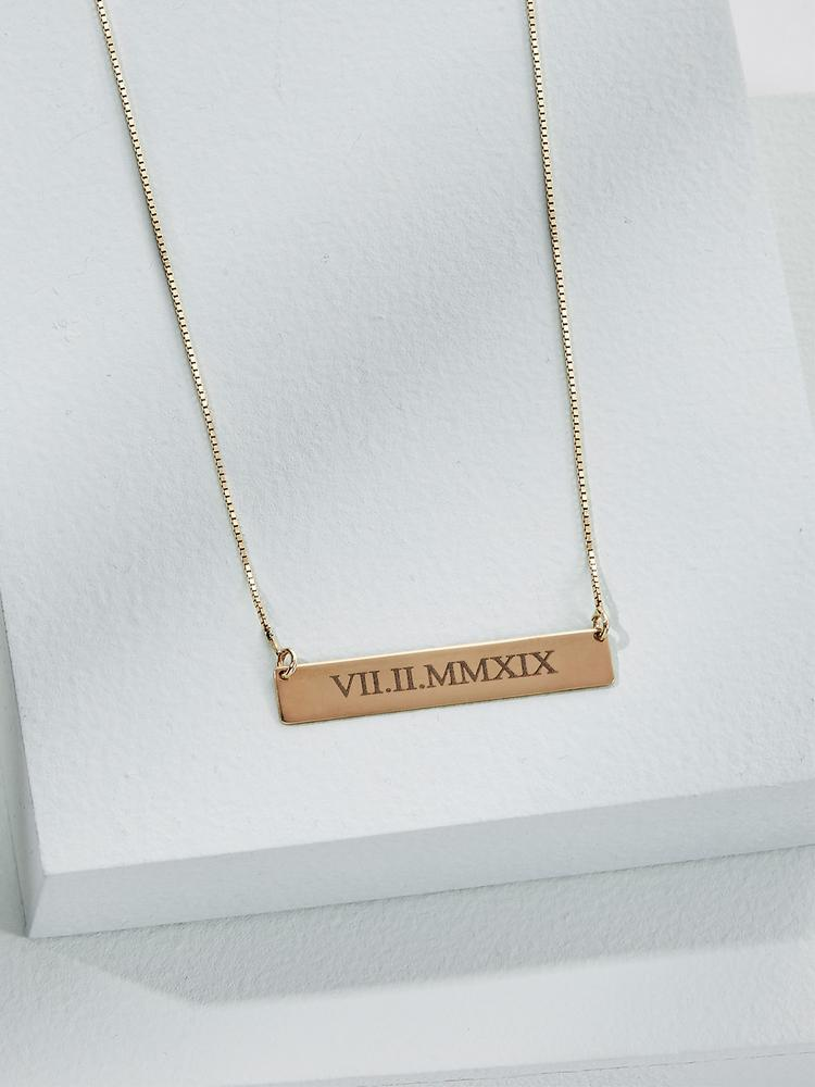 Ameniaarts Roman Numeral Bar Necklace