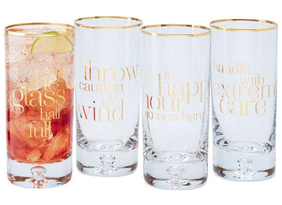 Gold Highball Cups with Quotes