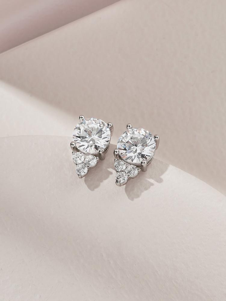 Ameniaarts Chloe Crystal Stud Earrings Silver